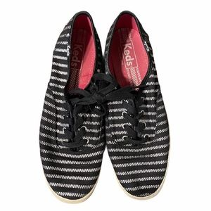 Keds Black and Silver Stripe Zig-Zag Sneakers